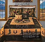 Western Peak 5 Pc Western Texas Cross Lodge Barbed Wire Quilt Bedspread Shams Pillow Oversize Comforter (Gold Cowboy Star, Queen)