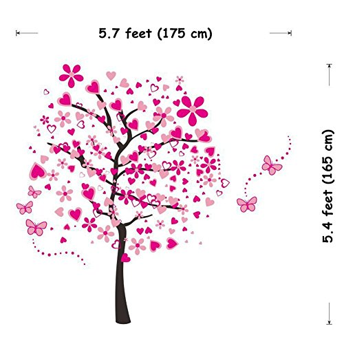 ElecMotive Huge Size Cartoon Heart Tree Butterfly Wall Decals Removable Wall Decor Decorative Painting Supplies & Wall… 7