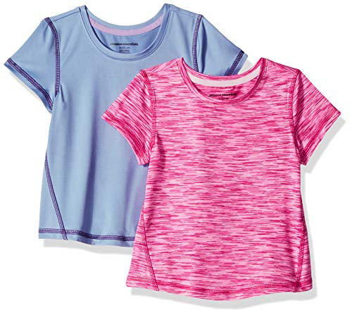 Amazon Essentials Toddler Girls' 2-Pack Short-Sleeve Active Tee, Purple/Pink Spacedye, 4T