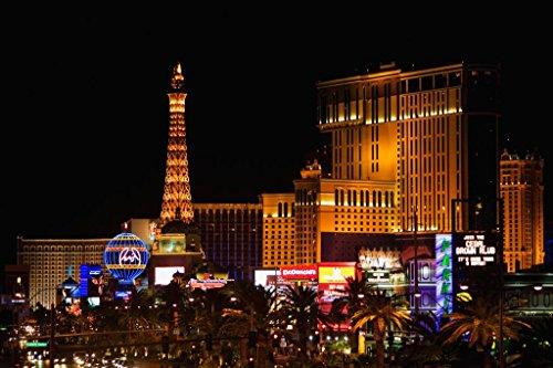 (Poster Foundry Las Vegas Nevada Strip Illuminated at Night Paris Hotel Photo Print Stretched Canvas Wall Art 24x16 inch)