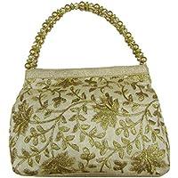 Deepsum Golden Ethnic Clutch Silk Potli Batwa Pouch Bag with Metal Beadwork Gift For Women Potli