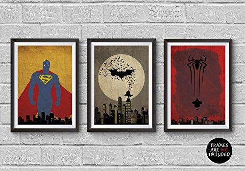 Super Heroes Minimalist Poster Set Superman Batman Spiderman Alternative Movie Print DC Comics Marvel Illustration Home Decor Artwork Wall Art Hanging Cool (Super Bats Set)