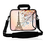 iColor 13'' Laptop Tablet Shoulder Bag 12.5'' 13.1'' 13.3'' inches inches Neoprene Handle Sleeve Cover Case Messenger Bag Computer PC Carrier Holder Double Zipper Extra Side Pocket -Eiffel Tower