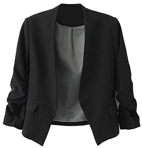 Ming ditian Popular Womens Casual Folding Sleeve Short Slim Solid Blazers Black - Shopping Yoox