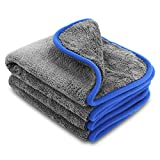 2x 1200gsm Microfiber Cleaning Towels, Zoegate microfiber Cloths Lint-free Dual Layer Ultra-Thick Car Wash Buffing Wax Polishing and Drying Cloth Towel Auto Detailing Towels 40 x 45 cm - perfect for clean