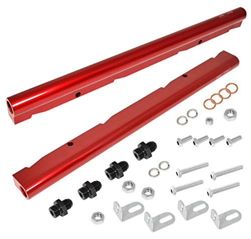 AJP Distributors High Flow Red Aluminum Performance Injector Fuel Rail Assembly For Chevy/GMC Ls1 Ls6 Engines