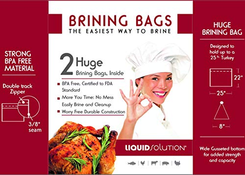 Liquid Solution Turkey Brining Bags - No BPA - Heavy Duty Materials - Thick Seams - Gusseted Bottom - Double Track Zippers - Extra Large - Set of 2, 21.5 x 25.5 in Each
