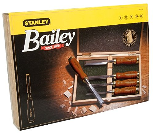 Stanley 2-16-217 Chisel-Set Bailey (5-piece), Silver/Tan Brown by STANLEY