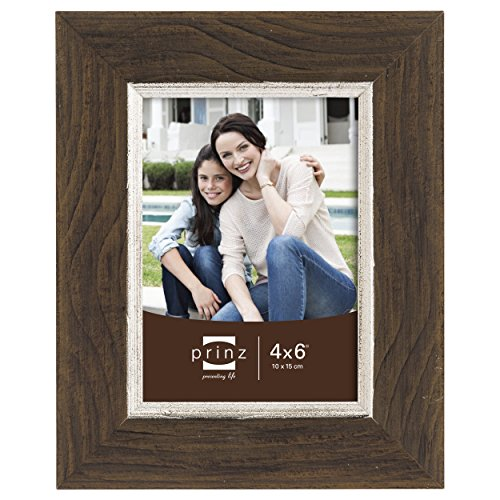 Prinz Crawford Distressed Wood Frame with Gilded Border, 4 by 6-Inch, Brown - Gilded Frame