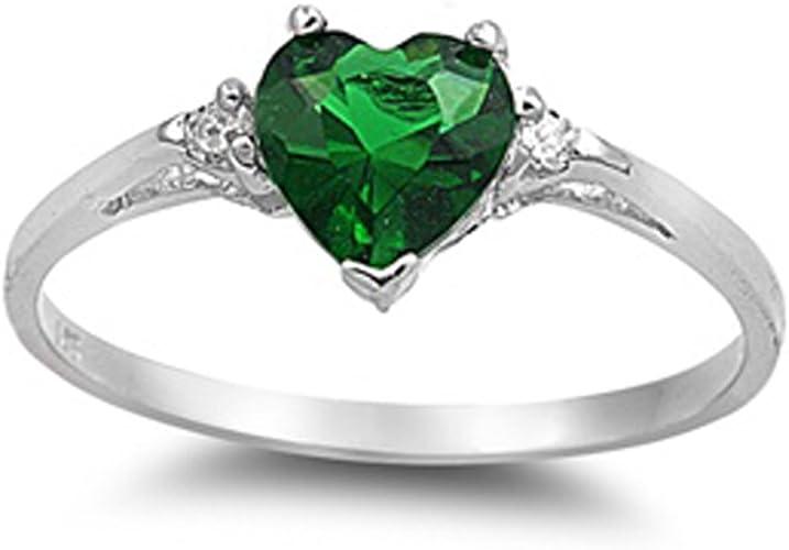 Elegant Emerald Green Heart CZ Genuine Sterling Silver Chevron Two Ring Set