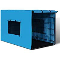 "i.Pet 36"" Dog Crate Cage with Blue Cover for Cat Dog Puppy Kitten"