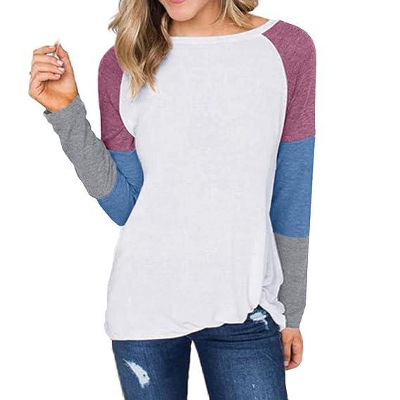 bc0276ef5ac43a Loveso Damen Langarm Shirt Farbblock Langarmshirt Hemd Casual Bluse Lose Baumwolle  T-Shirt Frauen Oberteile Tunika Tops  Amazon.de  Uhren
