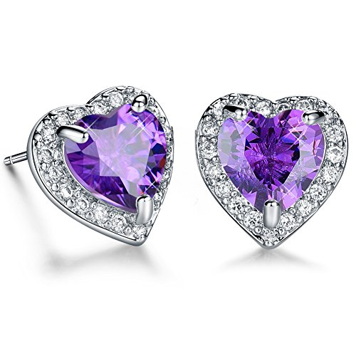 Purple CZ Cubic Zironia Heart Diamond White Gold Plated Stud Earrings Jewelry for women Valentines Mothers Day 21st Birthday Gifts for her (Purple Cubic Zirconia Stud)