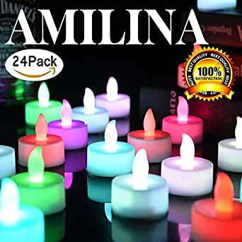 Multi-Color LED Tea Lights Battery Powered Flameless Colorful Flickering Electric Tealights Candles Small Votive Birthday Party Decoration Home Holiday Color Amilina