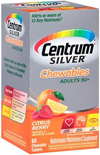 Centrum Silver Adult Multivitamin / Multimineral Supplement Chewable Tablet, Vitamin D3, Age 50+, 60 Count (Pack of 3)