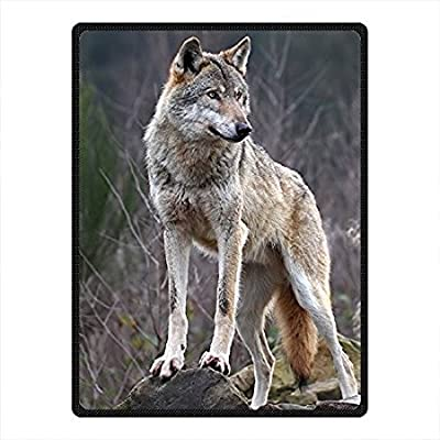 """""""HommomH"""" Blanket Comfort Warmth Soft Cozy Air Conditioning Easy Care Machine Wash Animal Wolf 1"""