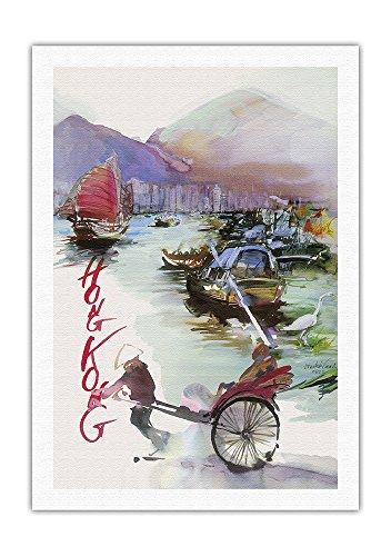 hong-kong-china-sas-scandinavian-airlines-system-rickshaw-junk-sail-boats-vintage-airline-travel-pos