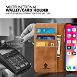 Digirole iPhone X Genuine leather Wallet Case –Finest Ultra Slim Secure Flip Cover Leather Case- 3 Protective Credit Card Slots, Wallet Cover Genuine Leather Solid Protection Case (Brown)