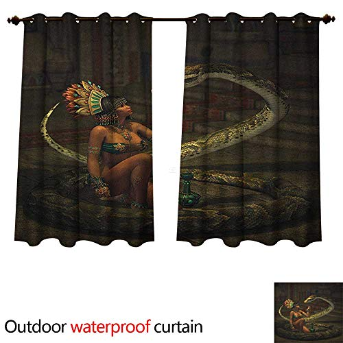 Anshesix Fantasy Outdoor Ultraviolet Protective Curtains Mystery Dark Skin Girl with Headdress Eye to Eye with Huge Snake W108 x L72(274cm x 183cm) -