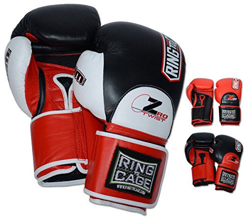 Ring to Cage ZroTwist Deluxe MiM-Foam Sparring Gloves 3.0- Safety Strap for Boxing, MMA, Muay Thai, Kickboxing (White, 16oz)