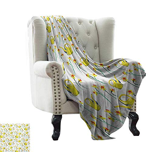 "Anyangeight Daffodil,Digital Printing Blanket,Daffodils and Watering Cans Pattern Watercolor Style Print Gardening Theme 60""x36"",Super Soft and Comfortable,Suitable for Sofas,Chairs,beds"
