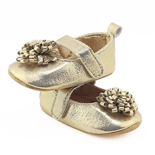 Hunpta Neugeborene Baby Mädchen Blumen Krippe Schuhe Weiche alleinige Anti-Rutsch Turnschuhe Gold