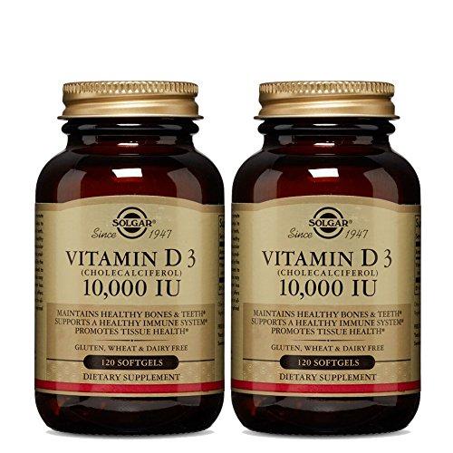 Solgar - Vitamin D3 (Cholecalciferol) 10,000 IU Softgels, 120 Count (2 Pack) - Supports Bone, Muscle and Immune System (Solgar Bone Support)