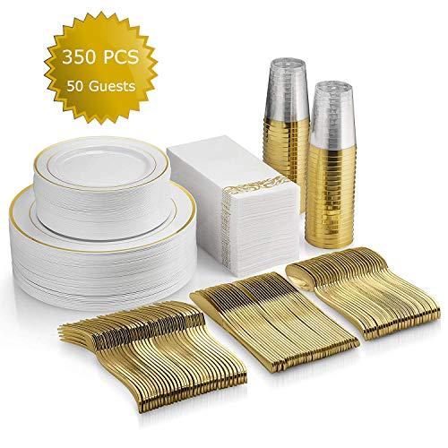 350 Piece Gold Dinnerware Set, 100 Gold Rim Plastic Plates, 50 Gold Plastic Cups, 50 Linen Decorative Gold Paper Napkins…