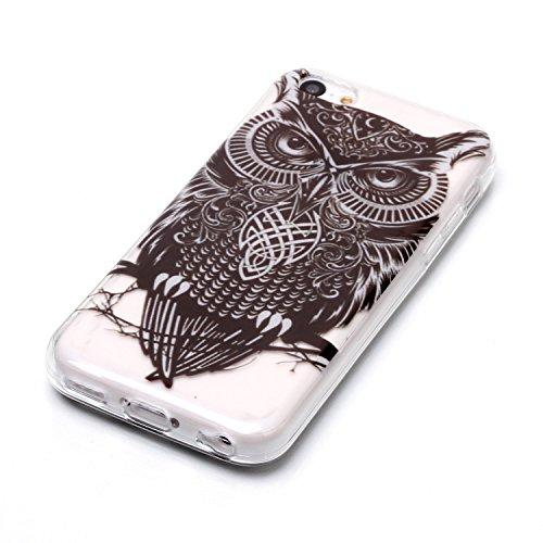 Custodia iPhone 5C , LH Gufo TPU Trasparente Silicone Cristallo Morbido Case Cover Custodie per Apple iPhone 5C