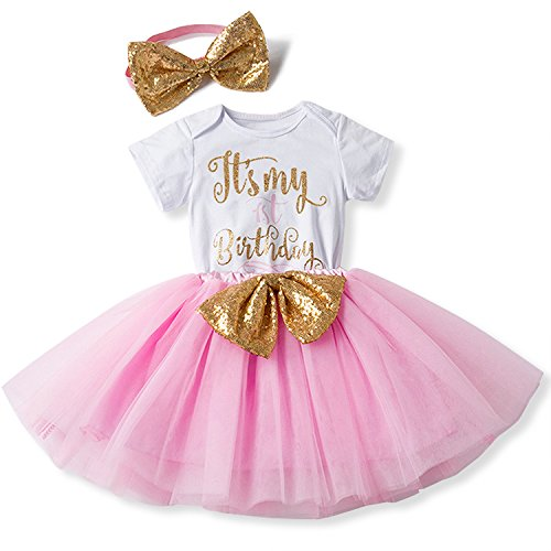 [NNJXD Girl Newborn It's My 1st Birthday 3 Pcs Outfits Romper+Skirt+Headband Size (1) 0-12 Months] (Princess Outfit Ideas)