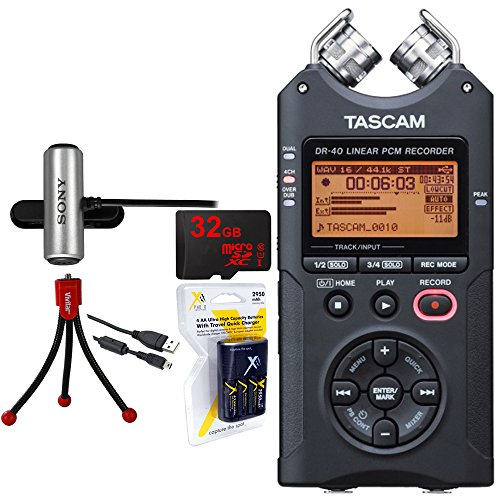 Tascam-Portable-Digital-Recorder-DR-40-32GB-MicroSD-Memory-Tripod-and-Battery-Bundle