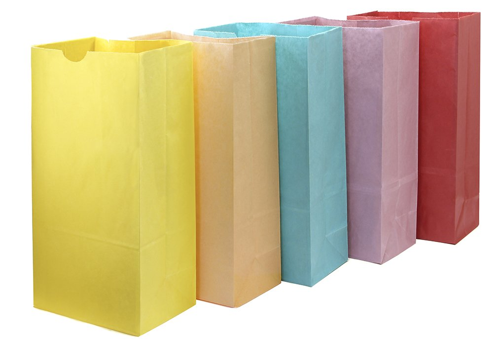 Hygloss Products Colored Paper Bags - 50 Assorted Colors for Party Favors, Puppets, Crafts, 6 x 3.5 x 11 Inches
