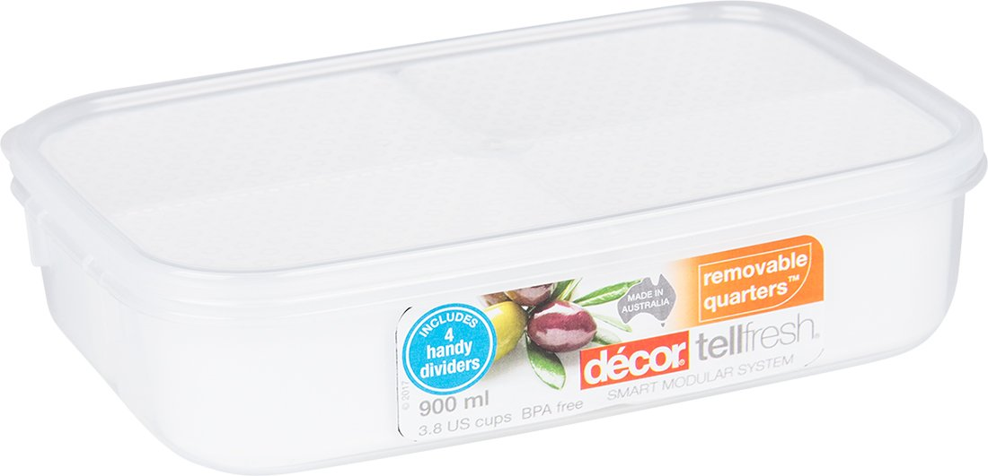 Décor Oblong Container With Four Removable Compartments 900ml