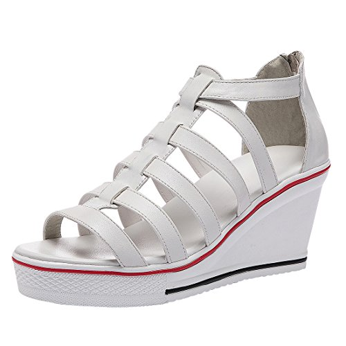 Padgene Women's Sneaker High-Heeled Fashion Canvas Shoes High Pump Lace UP Wedges Side Zipper Shoes White 4
