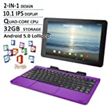 RCA Viking Pro Purple Edition 10.1 Touchscreen 2 In 1 Tablet Laptop, Detachable Keyboard, Free Office Moblie APP, Quad-Core Processor,32G storage, IPS Display, Android 5.0 Lollipop