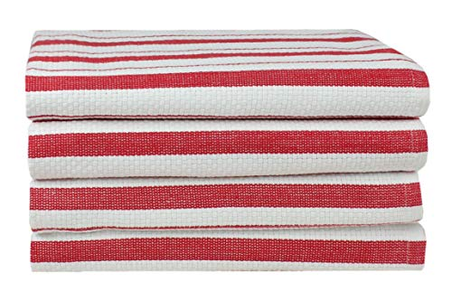 Cotton Craft - 4 Pack - Basket Weave Kitchen Towels - Red - 100% Cotton - Oversized 20x30 - Modern Clean Striped Pattern - Convenient Hanging Loop