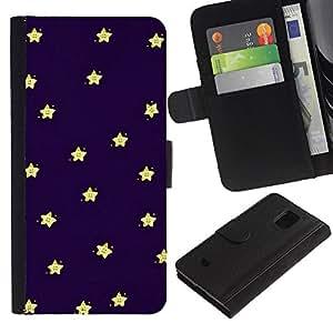 LASTONE PHONE CASE / Lujo Billetera de Cuero Caso del tirón Titular de la tarjeta Flip Carcasa Funda para Samsung Galaxy S5 Mini, SM-G800, NOT S5 REGULAR! / Sleep Baby Stars Sky Navy Blue Yellow