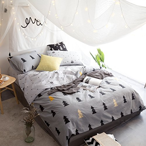 Small Pine Trees Bedding Sets Queen Full Grey Cotton Comforter Cover Included 2 Pillow Shams Teens Boys Girls Duvet Cover Sets Zipper for Home Bedding with 4 Corners Ties (Queen, Tree)