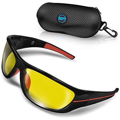 BLUPOND CHOPPER Polarized Night Driving Glasses - Shooting Baseball Cycling Fishing Sunglasses with Anti-Glare HD vision & 5 IN 1 Accessories - Baseball Eye Glasses