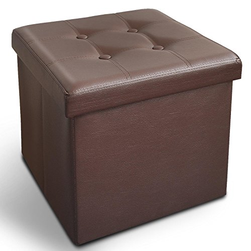 casa pura Ottoman Foot Rest | Foot Stool with Storage | Great Hidden Storage Solution in Classic Design | Faux Leather - Brown | Multiple Sizes and Colors - 15