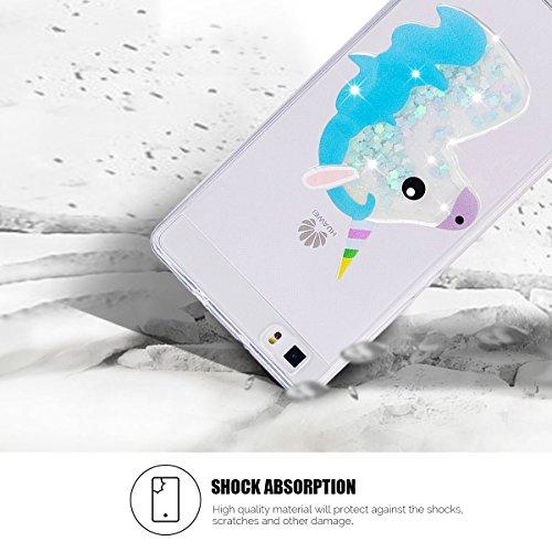 Funda Huawei P8 Lite, SpiritSun P8 Lite Carcasa Funda Trasparente Silicona Funda en 3D Bling Bling Glitter Líquido Ultra Delgado y Ligero Goma Flexible TPU Caja Suave Gel Protectora Carcasa [Anti Golp Unicornio Azul
