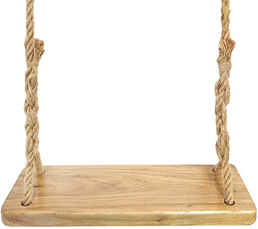 Aoneky Columpio de Madera para Adultos Niños - Columpio Colgante Infantil para Jardín Exterior, Columpio con Cuerda de 3M, Asiento de Madera Paulownia 60×20 cm, Carga de 160 kg (Paulonia Redondo): Amazon.es: Jardín
