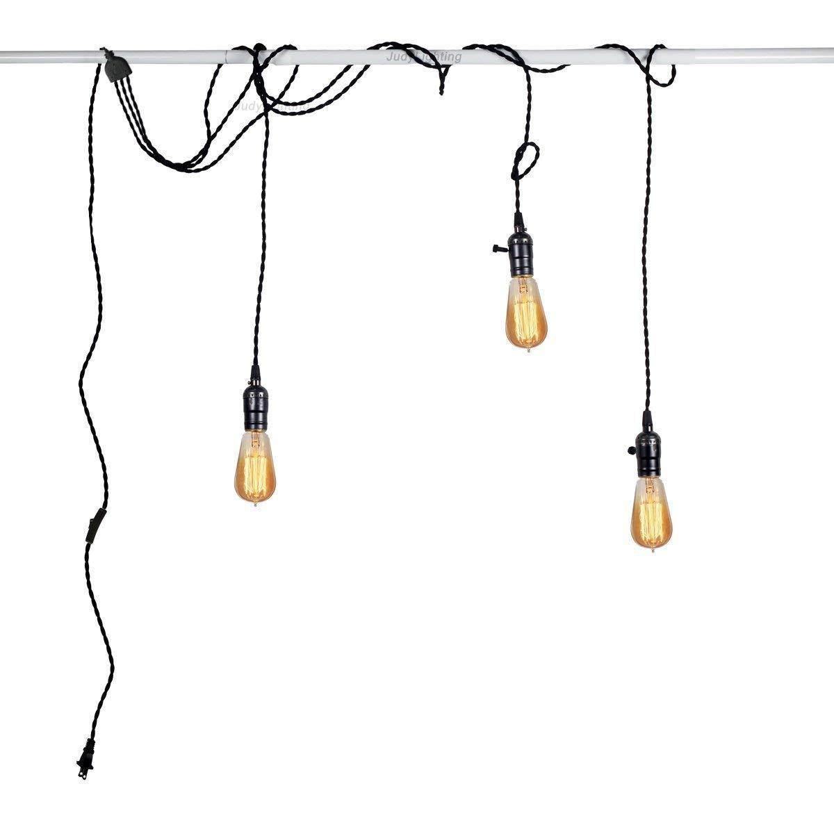 3 Light Vintage Pendant Light Kit Plug in Hanging Lighting Fixture 24.5FT Cord Set, Triple Socket Chandelier Swag Lights with 4 Hook Sets & On/Off Switch for Edison Bulb (Pearl Black)