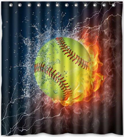 85OFF Yellow Softball Waterproof Fabric Polyester Bathroom Shower Curtain 66w