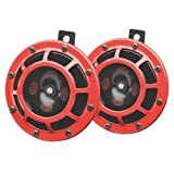HELLA 003399803 Supertone 12V High Tone/Low Tone Twin Horn Kit with Red Protective Grill, 2 Horns