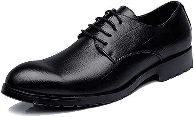 YLY Mens Classic Smooth PU Leather Shoes Lace Up Breathable Formal Business Lined Outsole Oxfords Breathable