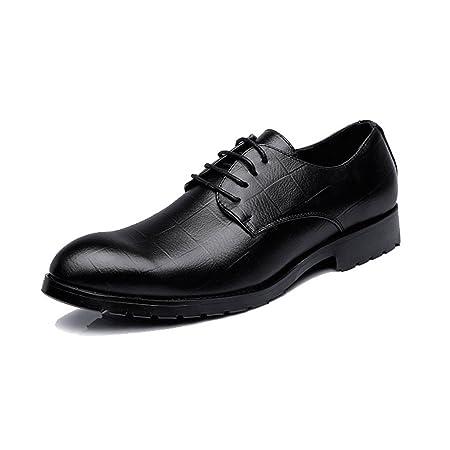 Apragaz Zapatos de Vestir Oxford de Negocios para Hombres Moda Estilo Británico Textura de Rejilla Zapatos de Boda Formales (Color : Negro, tamaño : 48 EU): ...