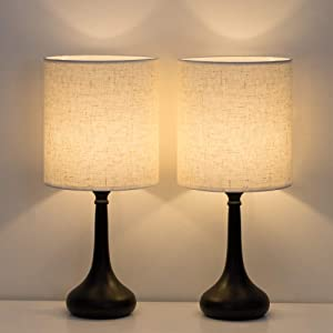 HAITRAL Bedside Table Lamps Set of 2 - Modern Nightstand Lamps, Simple Desk Lamps for Bedroom, Living Room, Office - Black (HT-TH85-02X2)