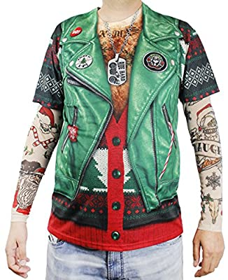 Faux Real Xmas Biker with Tattoo Sleeve Printed T-Shirt, Adult Size