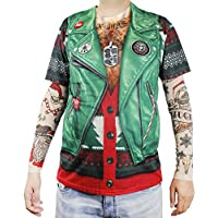 Faux Real Xmas Biker with Tattoo Sleeve Printed T-Shirt, Adult Size Large